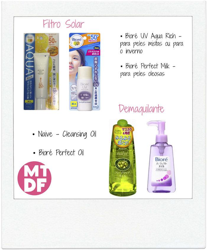 cosmético asiático - filtro solar e demaquilante