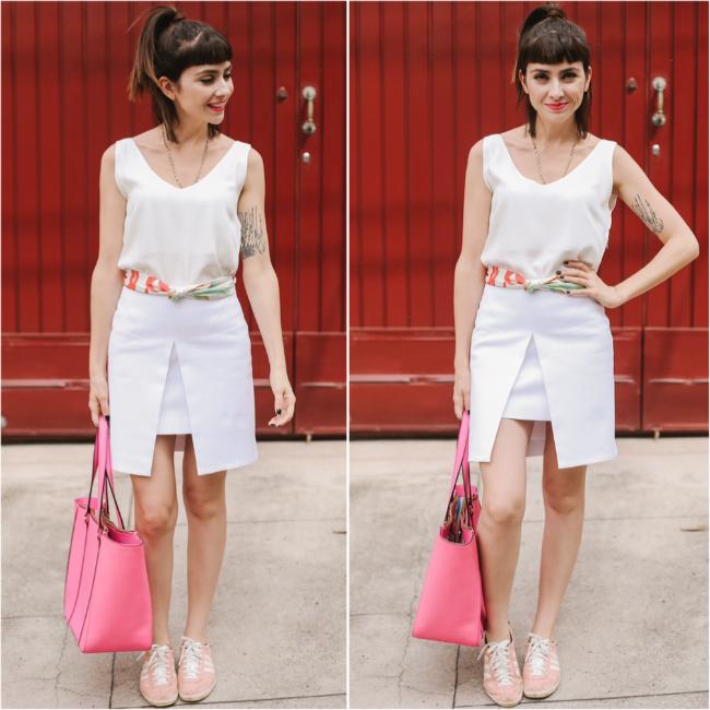 roupa branca com pontos de cor